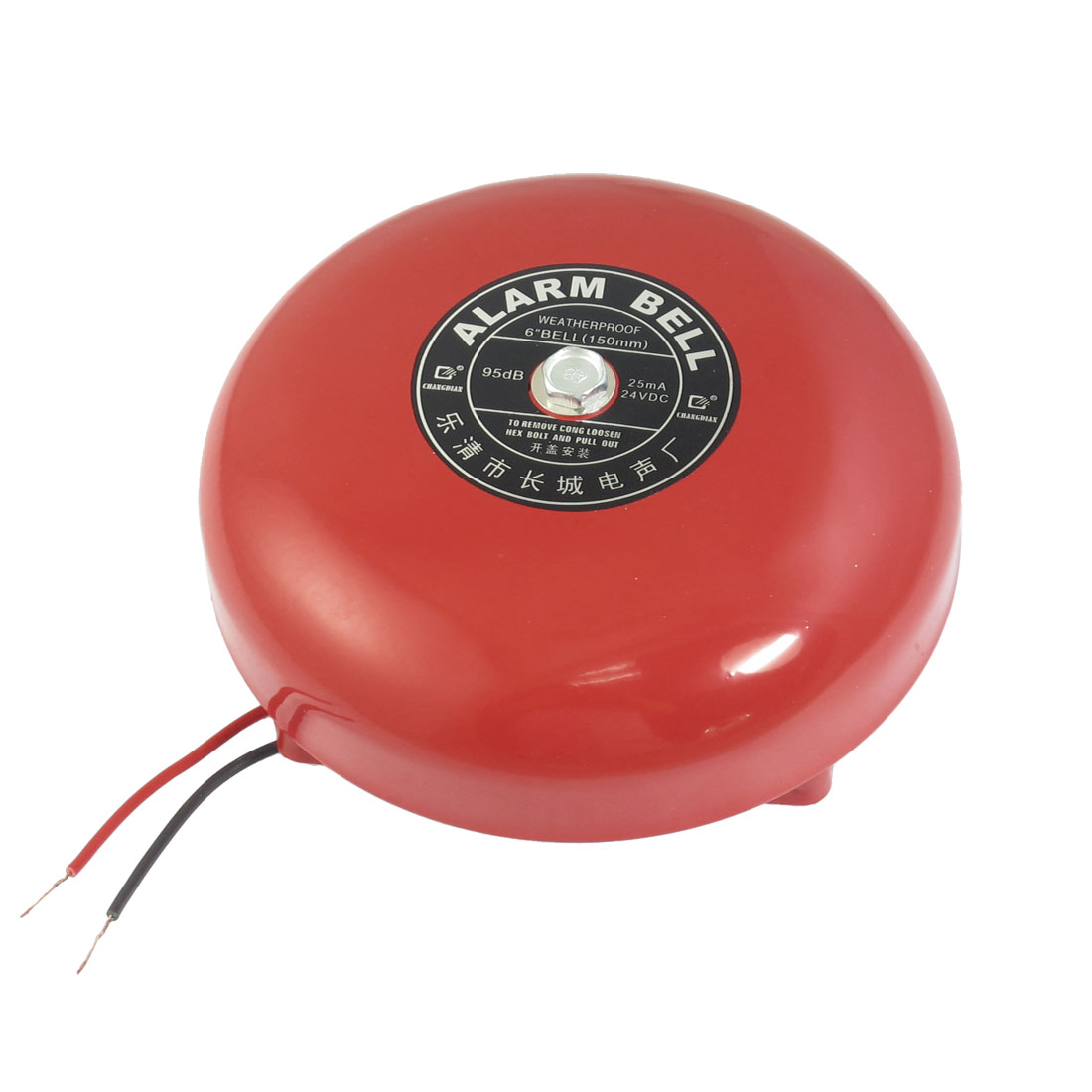 "DC 24V 25mA 95db 150mm 6"" Diameter Metal Electric Round Alarm Bell Red"