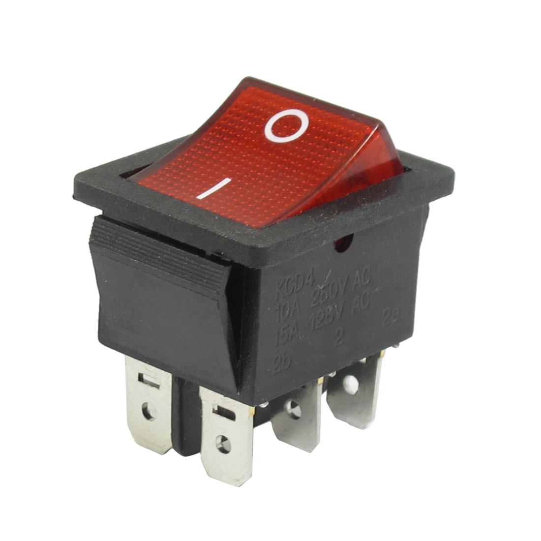 AC 250V/10A 125V/15A 6 Pins DPDT On/Off Rocker Switch w Light