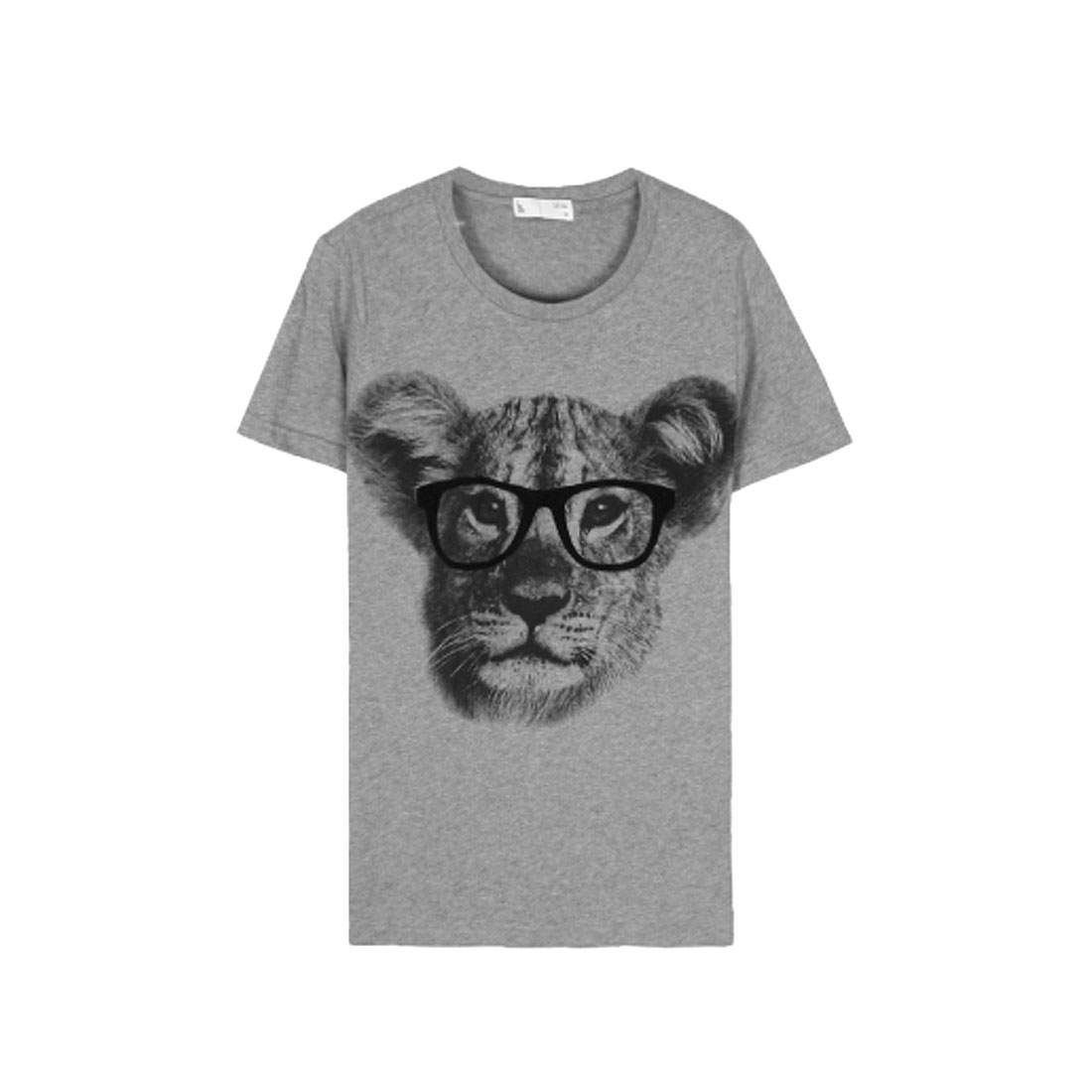Men Fashion Light Gray Short Sleeve Glasses Pattern Detail Tee Shirt M