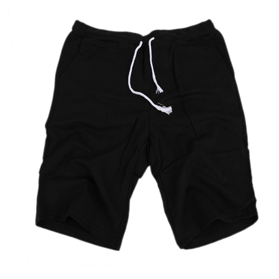 Mens Slant Side Pockets Knee Length Summer Sports Short Black W29