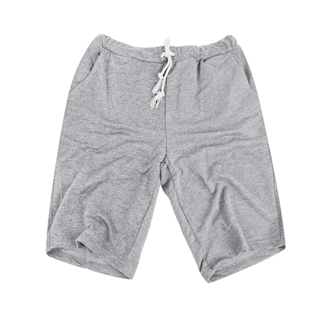 Mens With Pockets Korean Fashion Leisure Mid Rise Shorts Light Gray W29