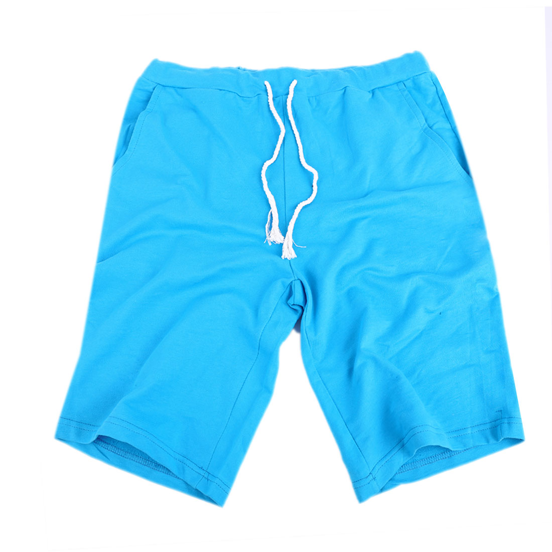 Mens Light Blue Mid Rise Knitted Trendy Sports Short Trouser W29