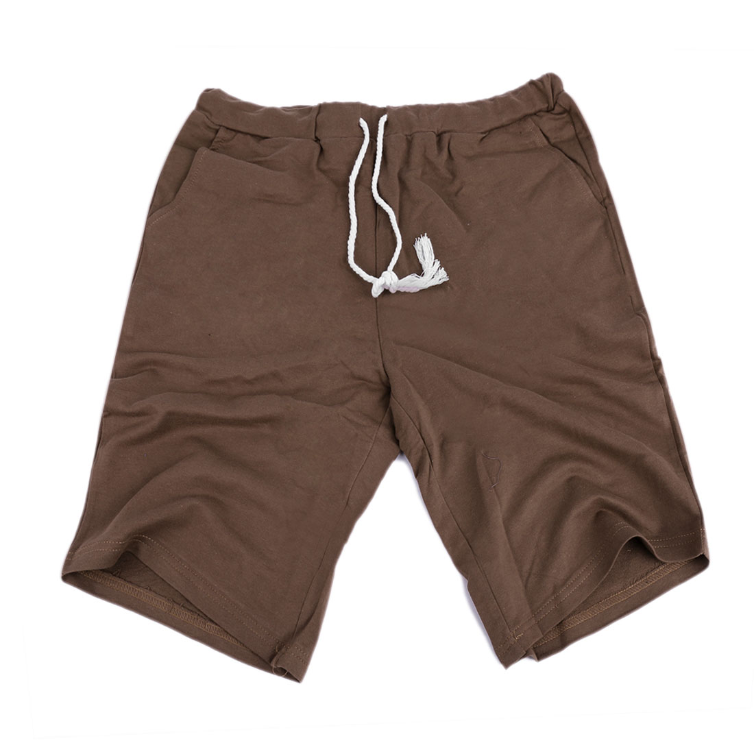 Mens Coffee Color Drawstring Elastic Waist Casual Chic Shorts W29