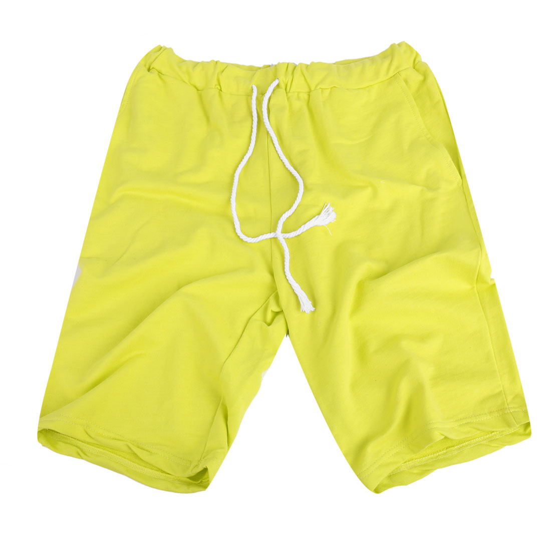 Mens Fluorescent Yellow Drawstring Elastic Waist Short Pants W29