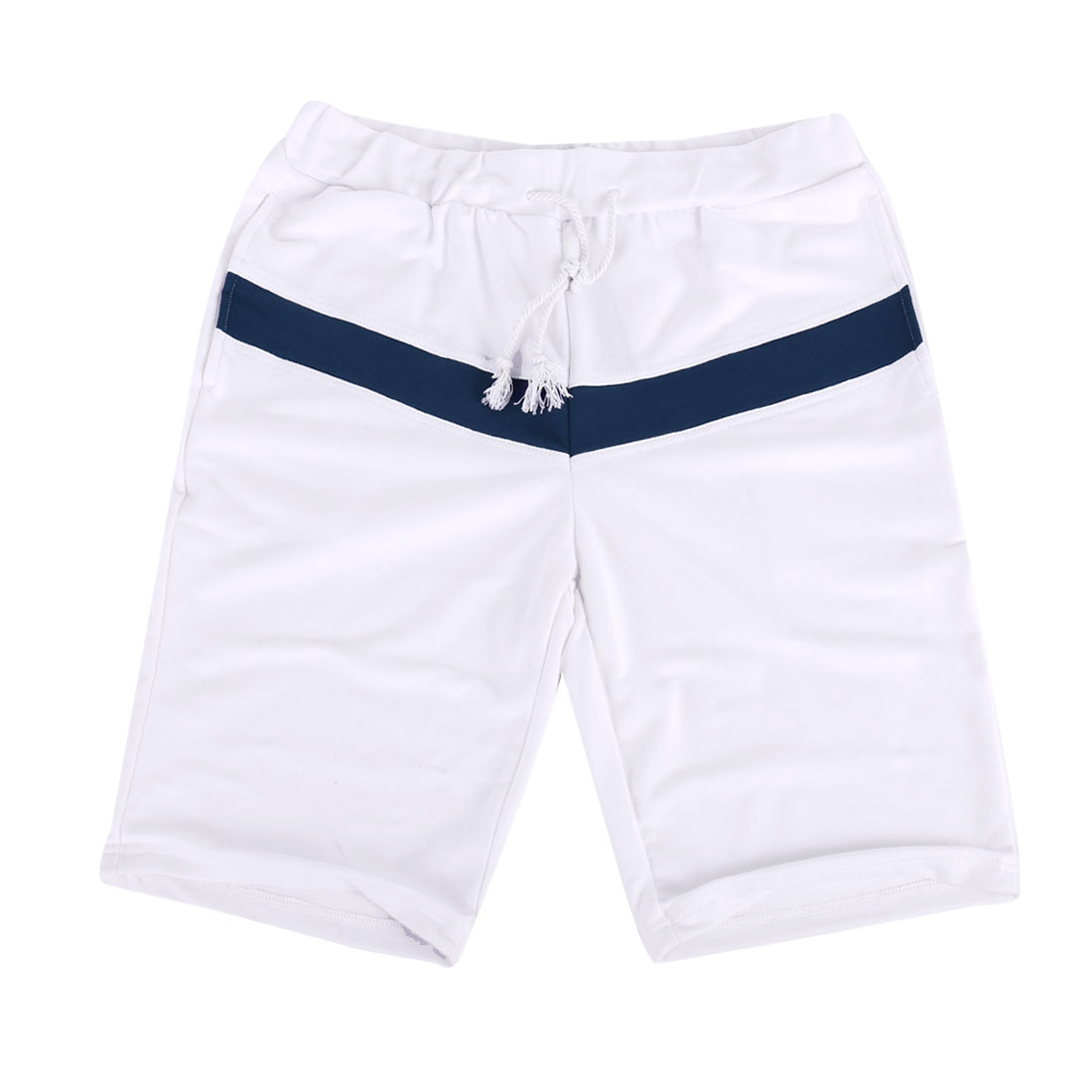 Men Stretchy Adjustable Drawstring Chic Short Pants White W31