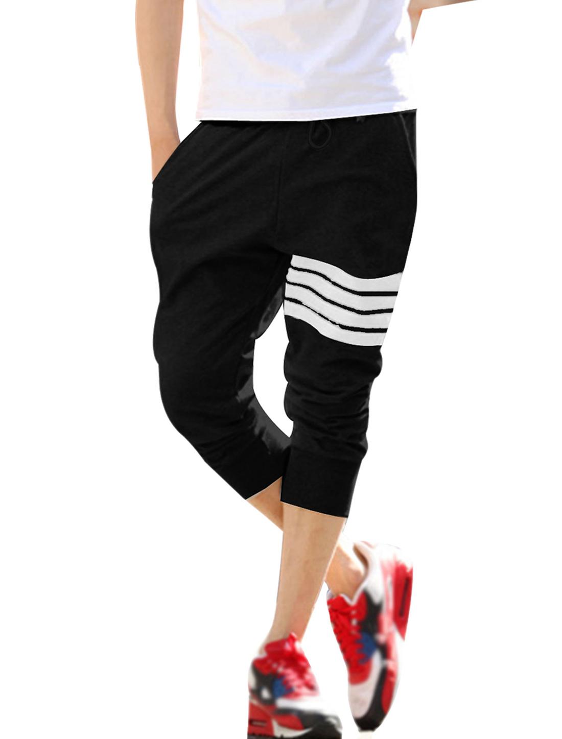Mens Black Drawstring Elastic Waist Ribbing Detail Summer Capris Pants W32