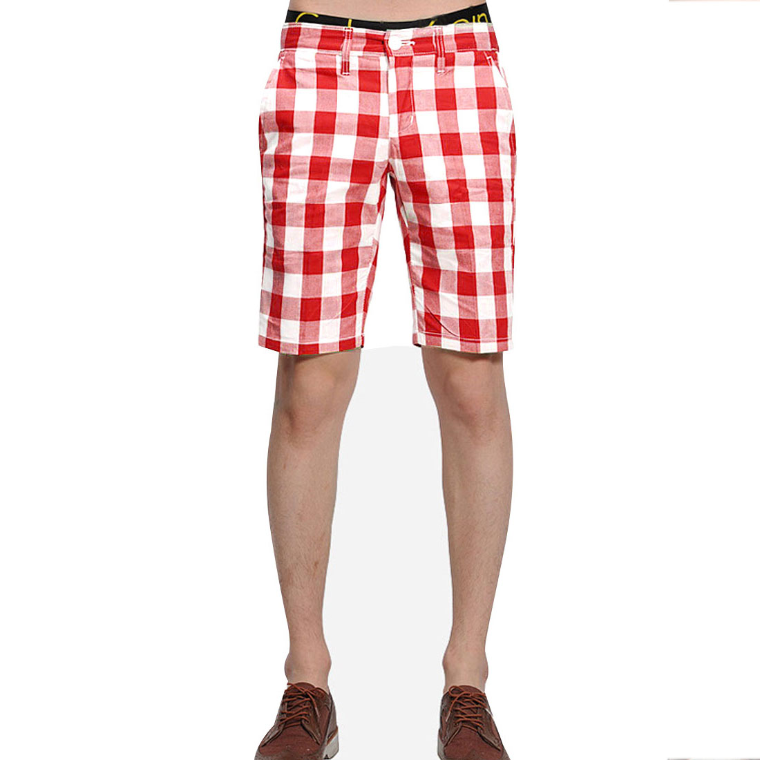 Men Zip Closure Waistband Loop Slant Pockets Front Plaids Casual Short Pants Red White W34