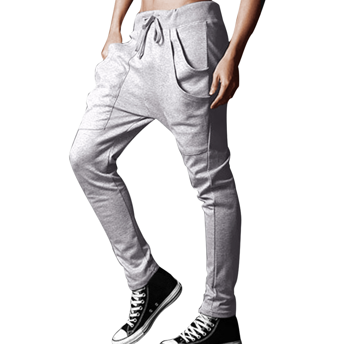 Men Drawstring Elastic Waist Slant Pockets Front Solid Color Harem Pants Light Gray W30