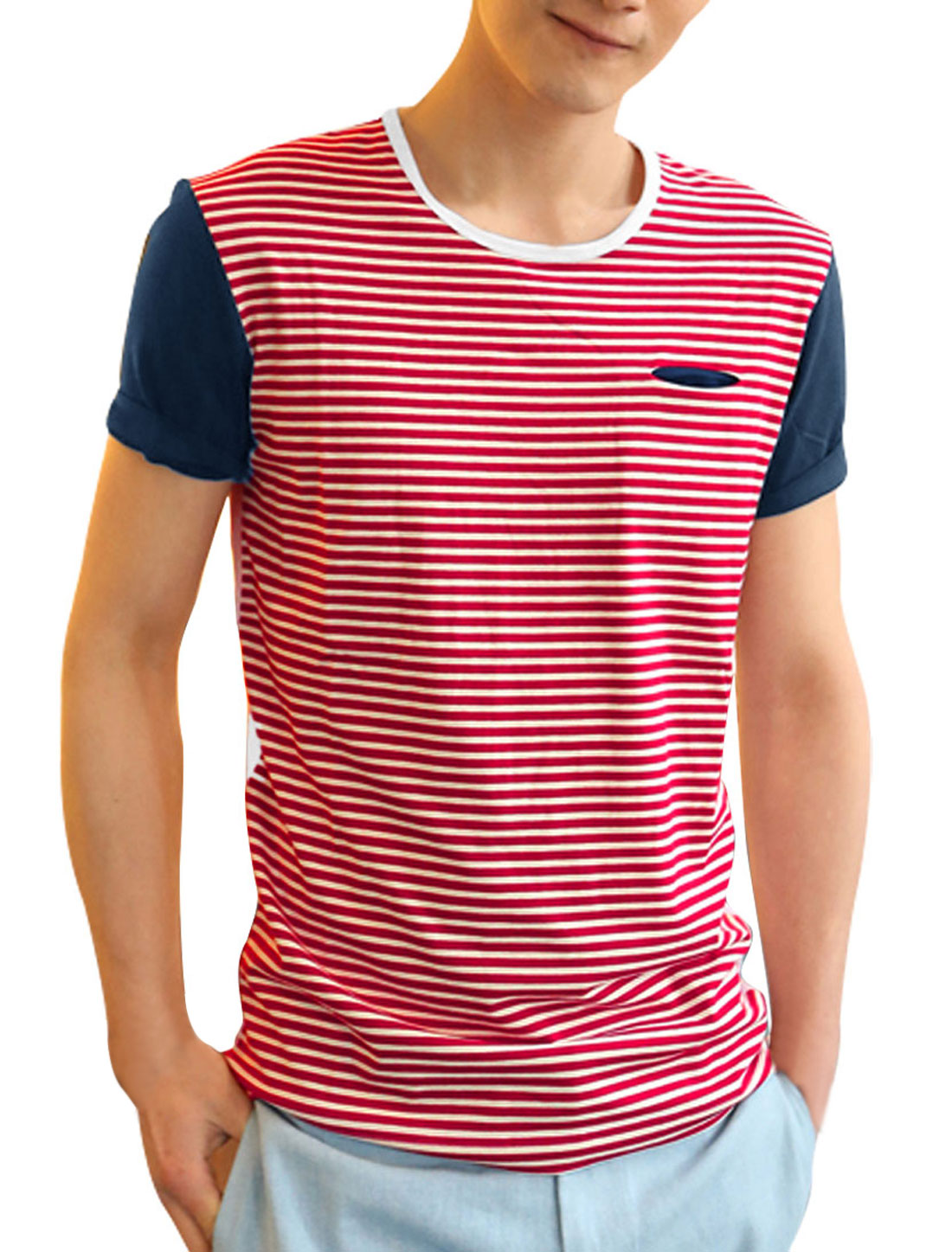 Men Personalized Stretchy Stripes Stylish Leisure Shirt Red M