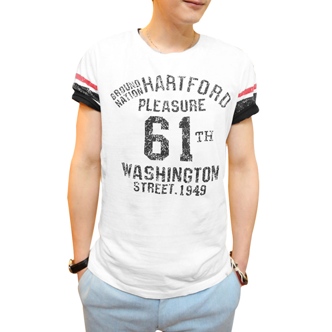 Mens Round Neck Short Sleeve Letters Digit Printing White Shirt S