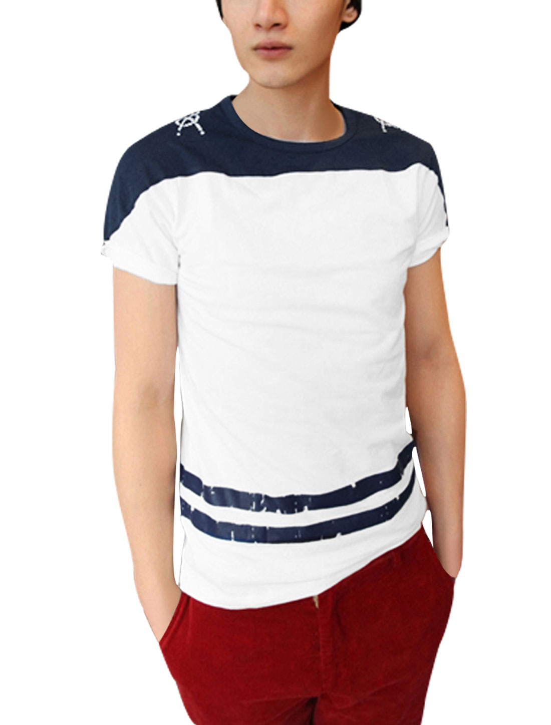 Men Striped Prints Stretchy Short-sleeved Modern Shirt White M