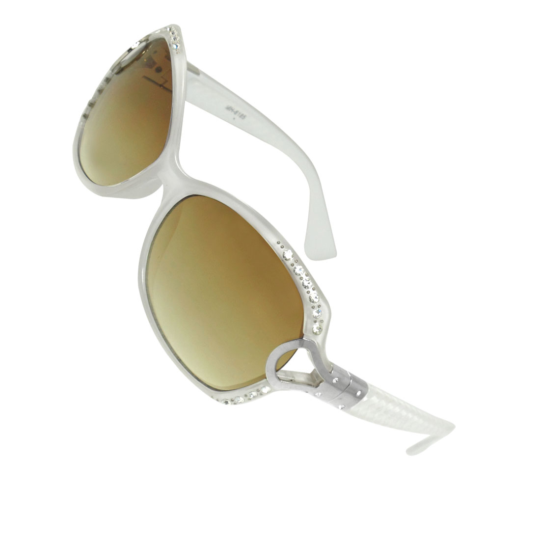 Women Textured Arm Gradient Color Teardrop Lens Single Bridge White Sunglasses
