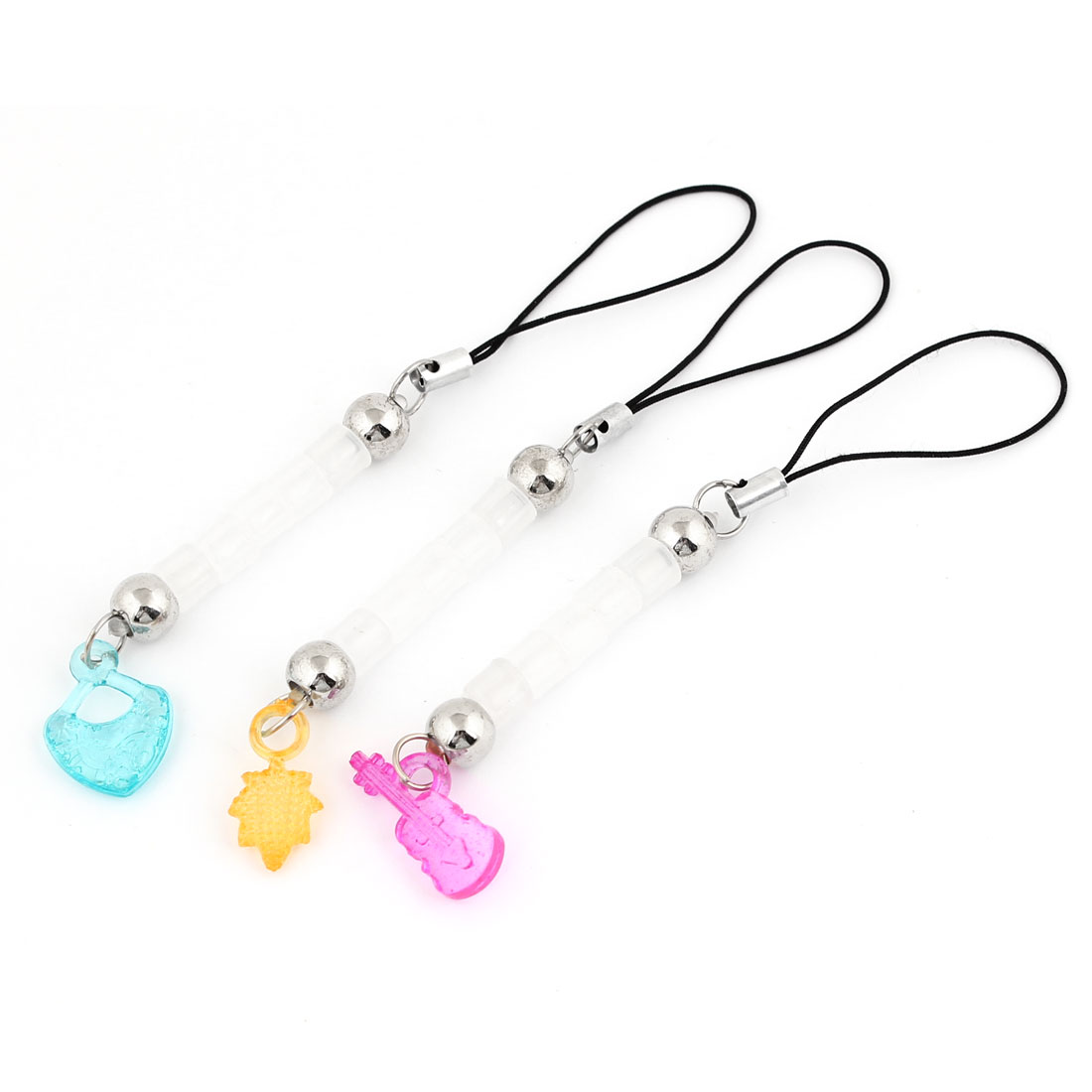 3 Pcs Assorted Pendant Cell Phone Mp3 Mp4 Strap Chain Charm