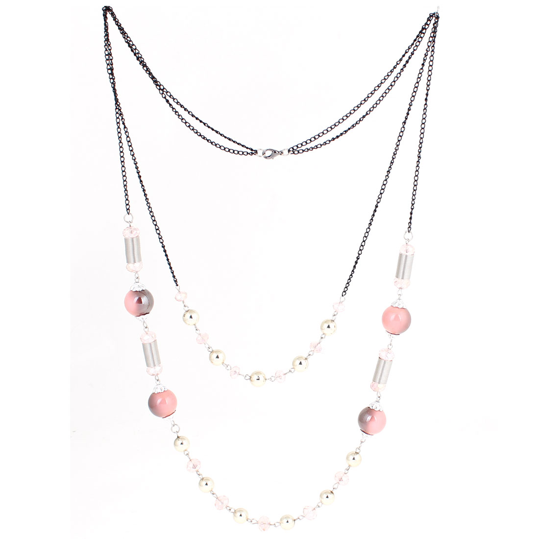 Bead Cylinder Decor 2 Layers Sweater Chain Necklace Pale Pink Black for Women