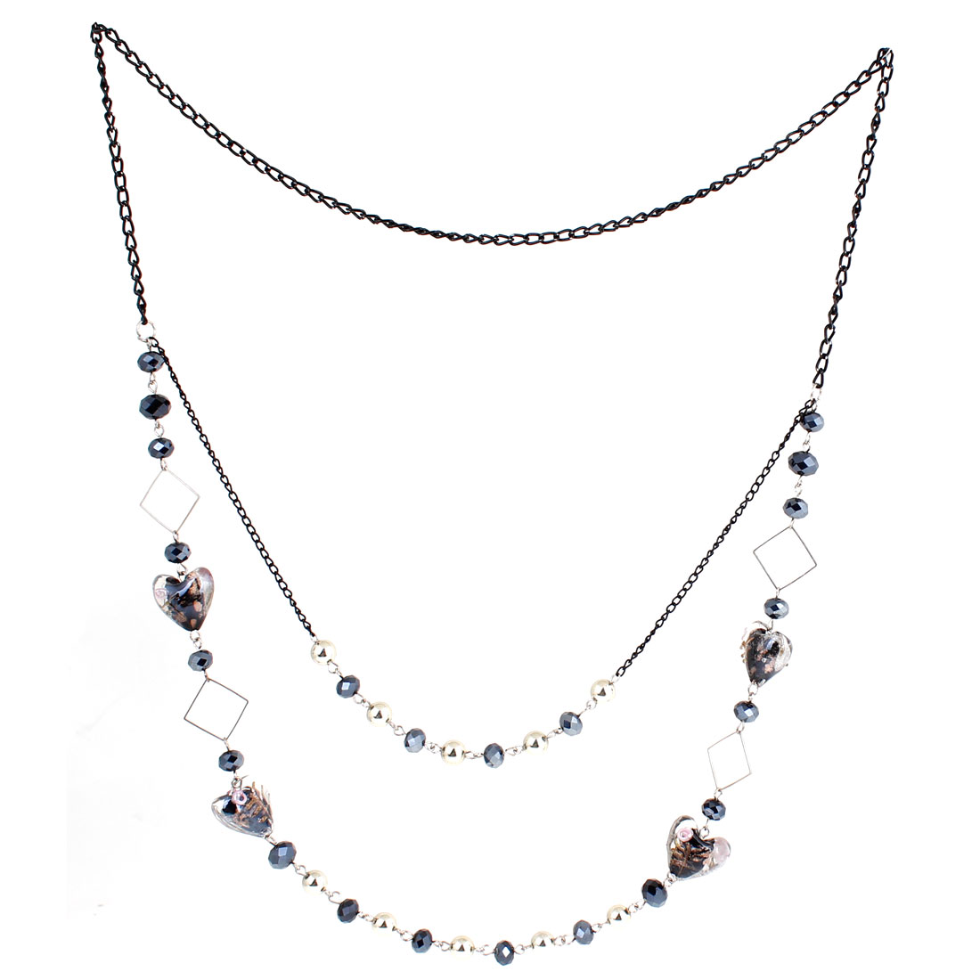 Ladies Dark Blue Faux Crystals Accent Black Slim Chain Sweater Necklace