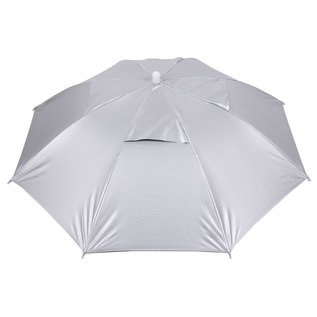 Outdoor Sports Fishing Adjustable Band Folded Rain Sun Umbrella Hat Silver Tone