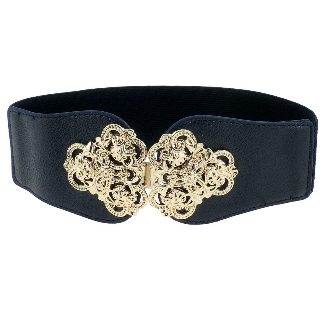 Floral Interlocking Buckle 6cm Wide Elastic Waist Belt Band Waistband Dark Blue