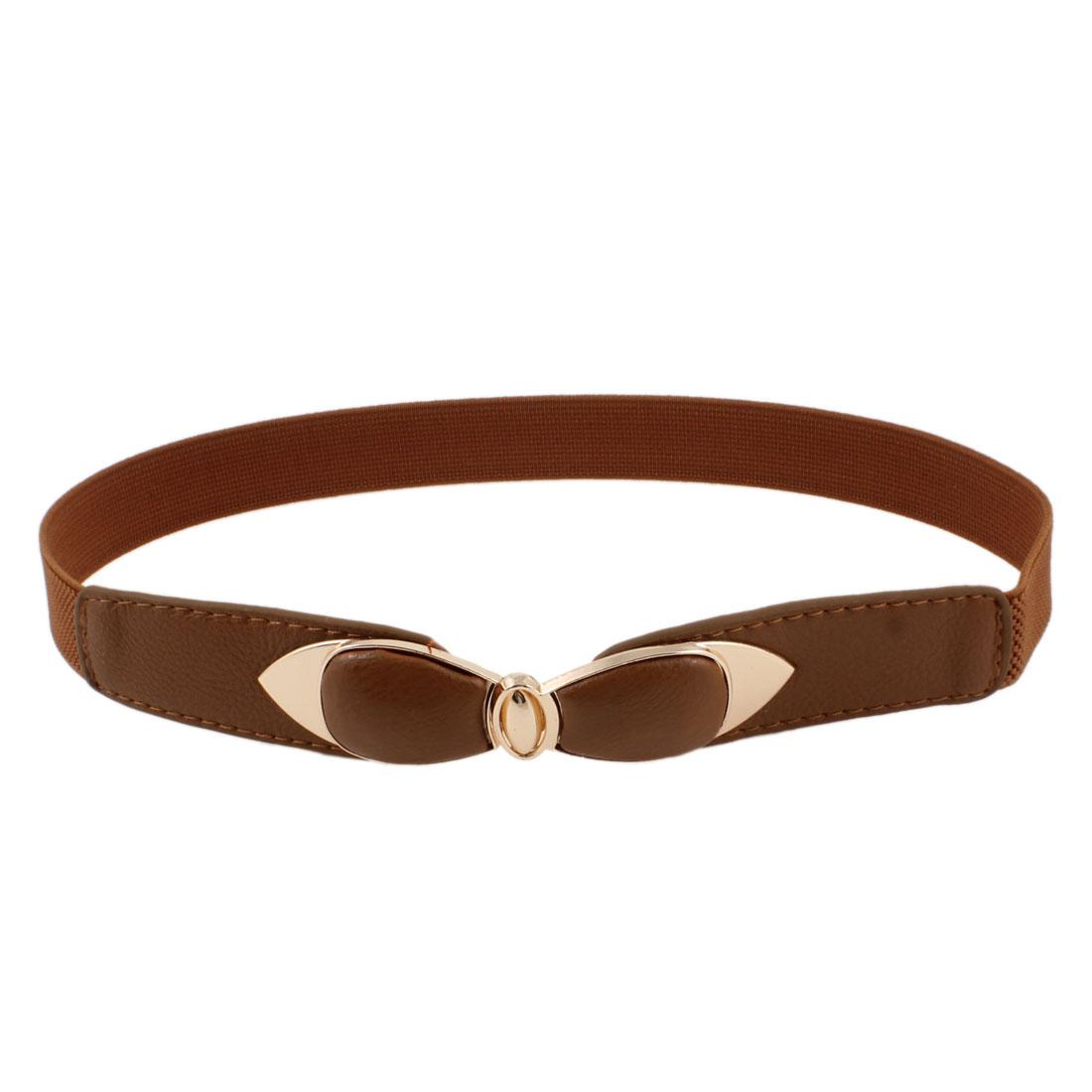 Bowtie Design Interlock Buckle Stretch High Waist Belt Brown for Woman