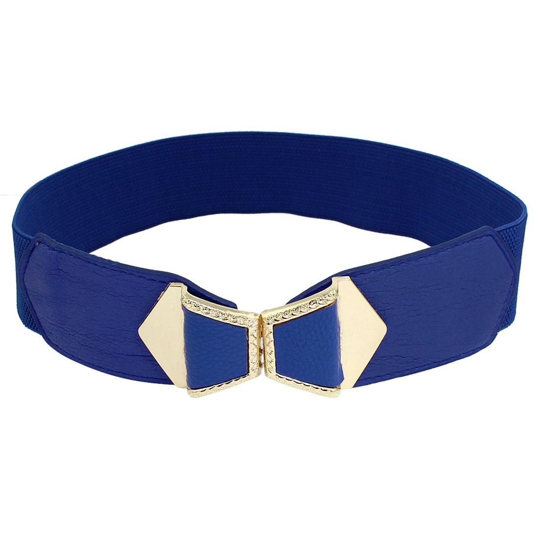 Women Bowtie Design Interlock Buckle Stretchy Cinch Belt 4.8cm Wide Royal Blue