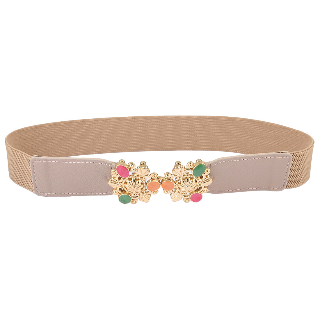 Women Metal Flower Decor Interlock Buckle Textured Stretch Cinch Belt Rosybrown