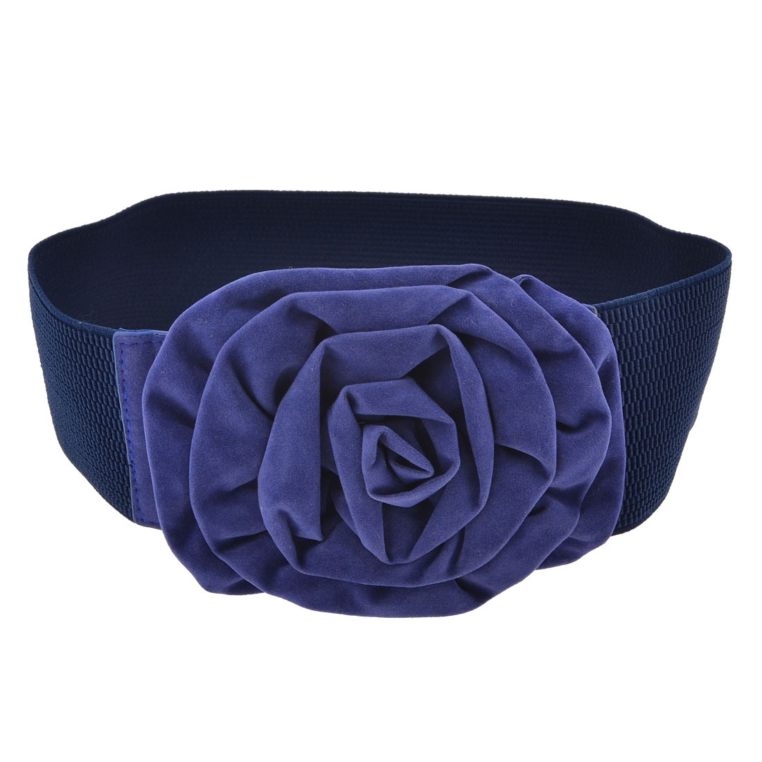 Ladies Rose Decor Textured Elastic Waist Belt Corset Cinch Band Navy Blue