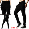 Men Drawstring Elastic Waist Slant Pockets Front Solid Color Stretchy Harem Pants Black W30