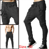 Men Drawstring Elastic Waist Slant Pockets Front Stretchy Harem Pants Dark Gray W30