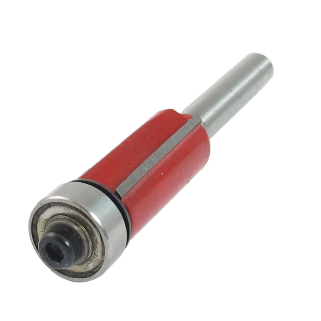 "Silver Tone Red Dual Flutes Cutting Straight Router Bit 1/4"" x 1/2"""