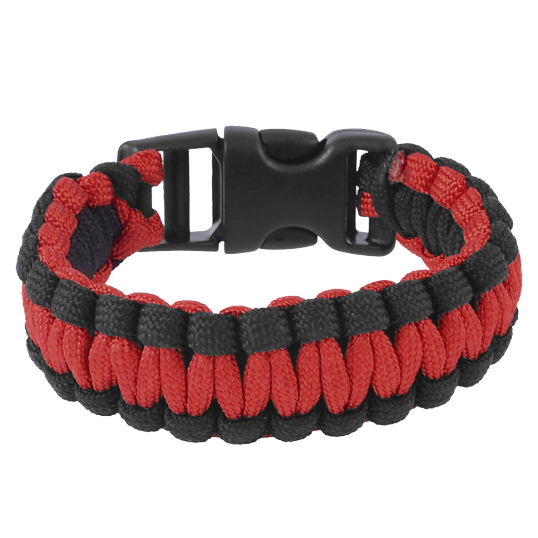 Whistle Buckle Black Red Cobra Weave Nylon Rescue Survival Bracelet