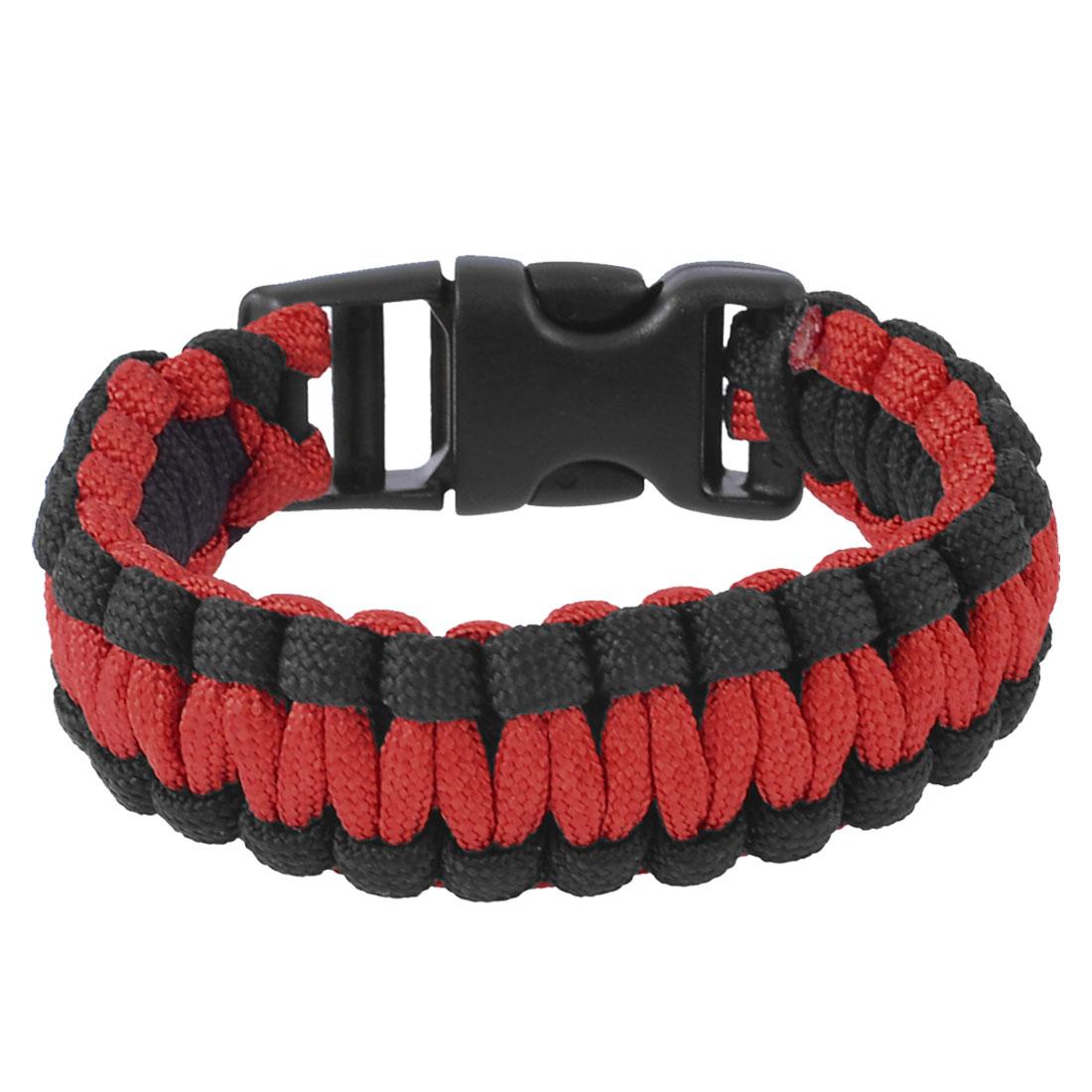 Whistle Buckle Black Red Cobra Weave Nylon Rescue Survival Bracelet