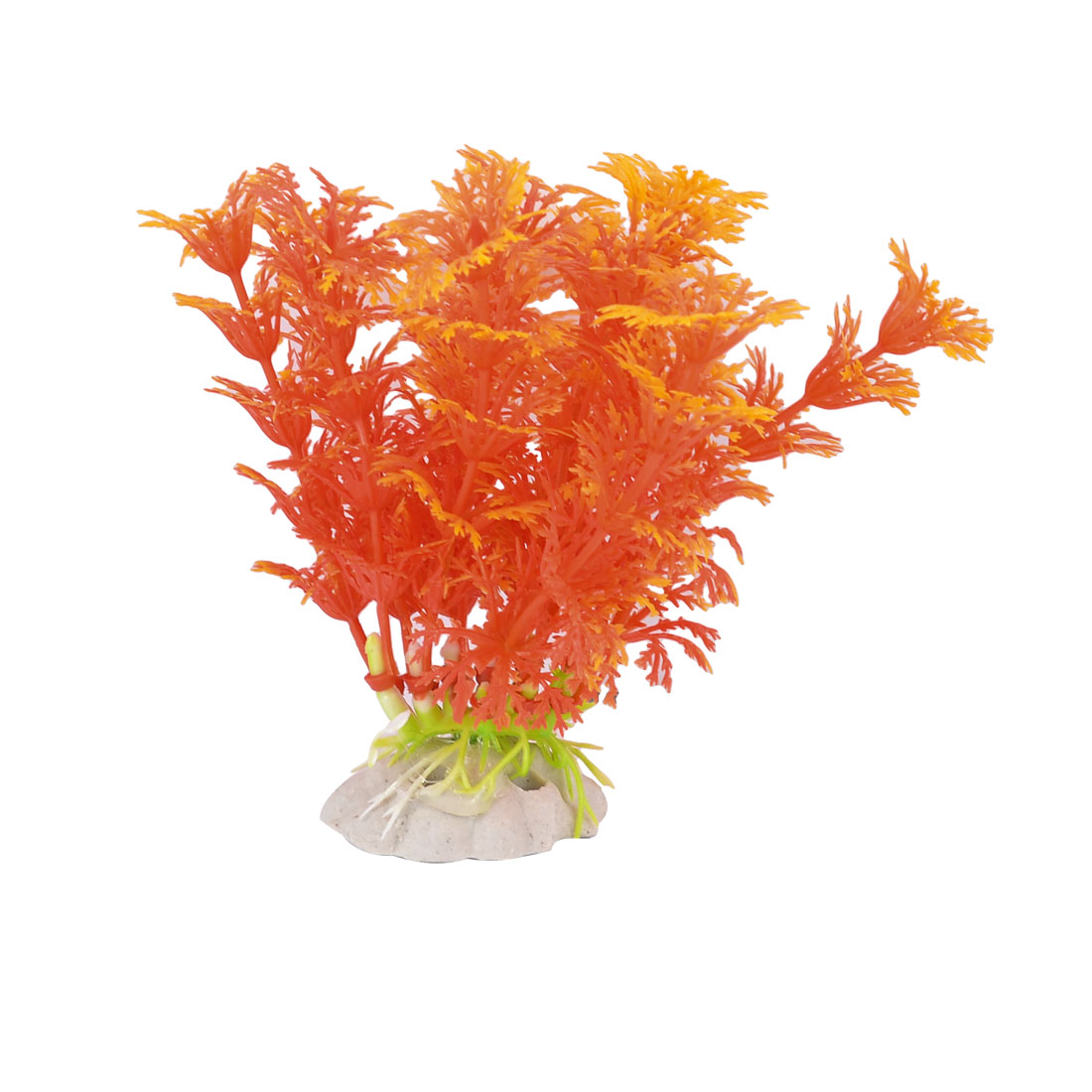 Fish Tank Aquarium Orange Plastic Underwater Leaves Grass Plant Decoration