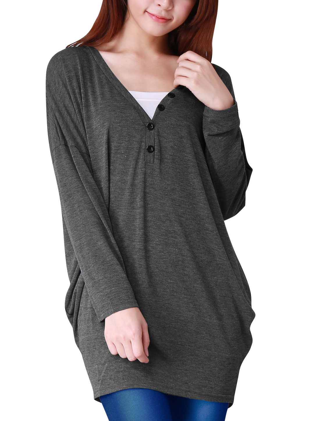 Lady Dark Gray Button V Neckline Long Batwing Sleeve Casual Tunic Shirt XL