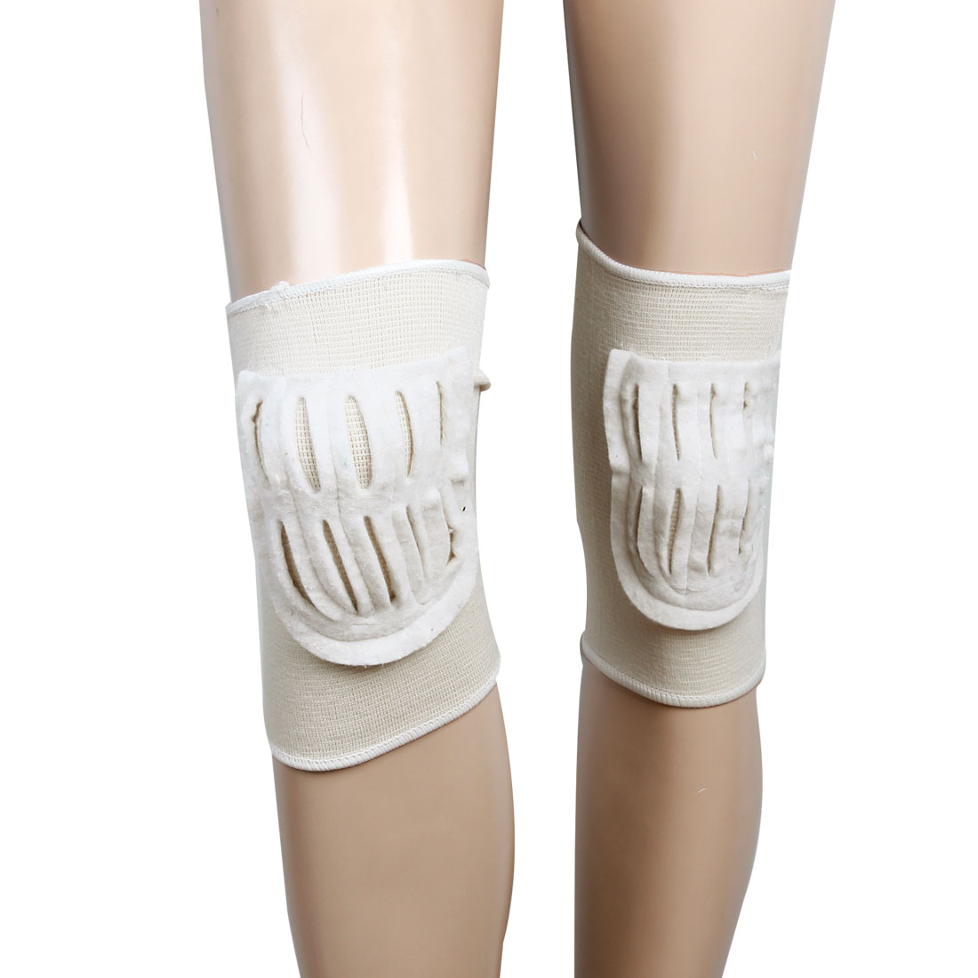 Pair Off White Felt Pad Elastic Knee Support Sleeve Guard for Men Women
