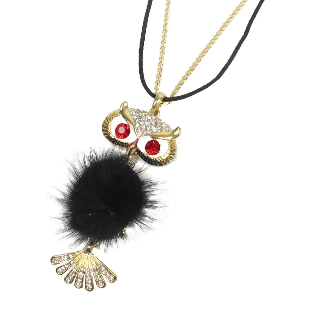 Shiny Rhinestone Decor Mixed Strings Owl Design Pendant Necklace for