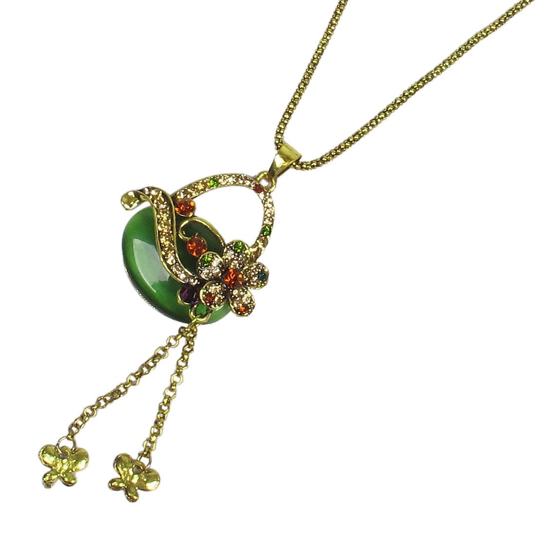 Ladies Glittery Rhinestone Flower Decor Basket Design Sweater Necklace