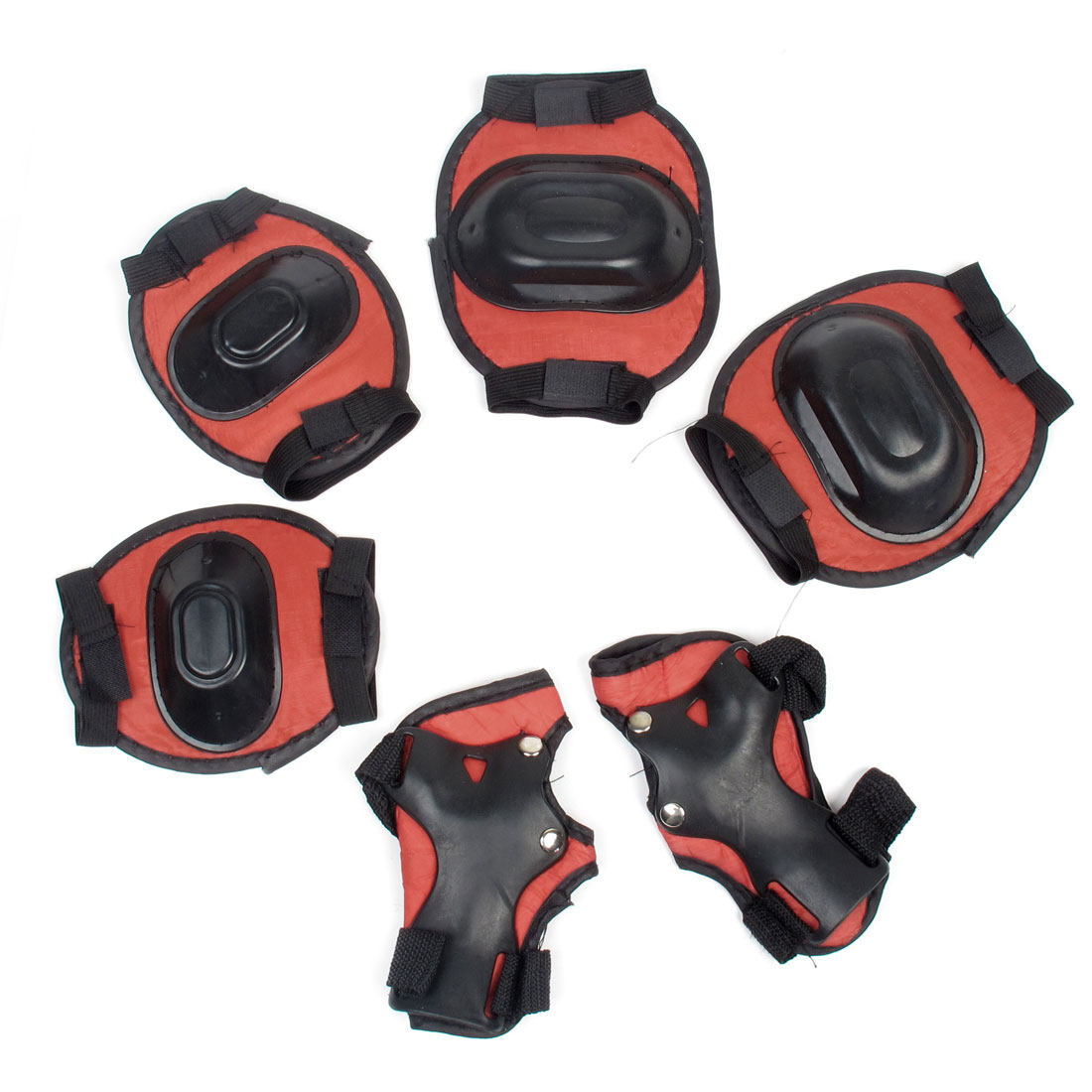 Skating Pads Palm Knee Elbow Protective Support Set Black Red for Kids