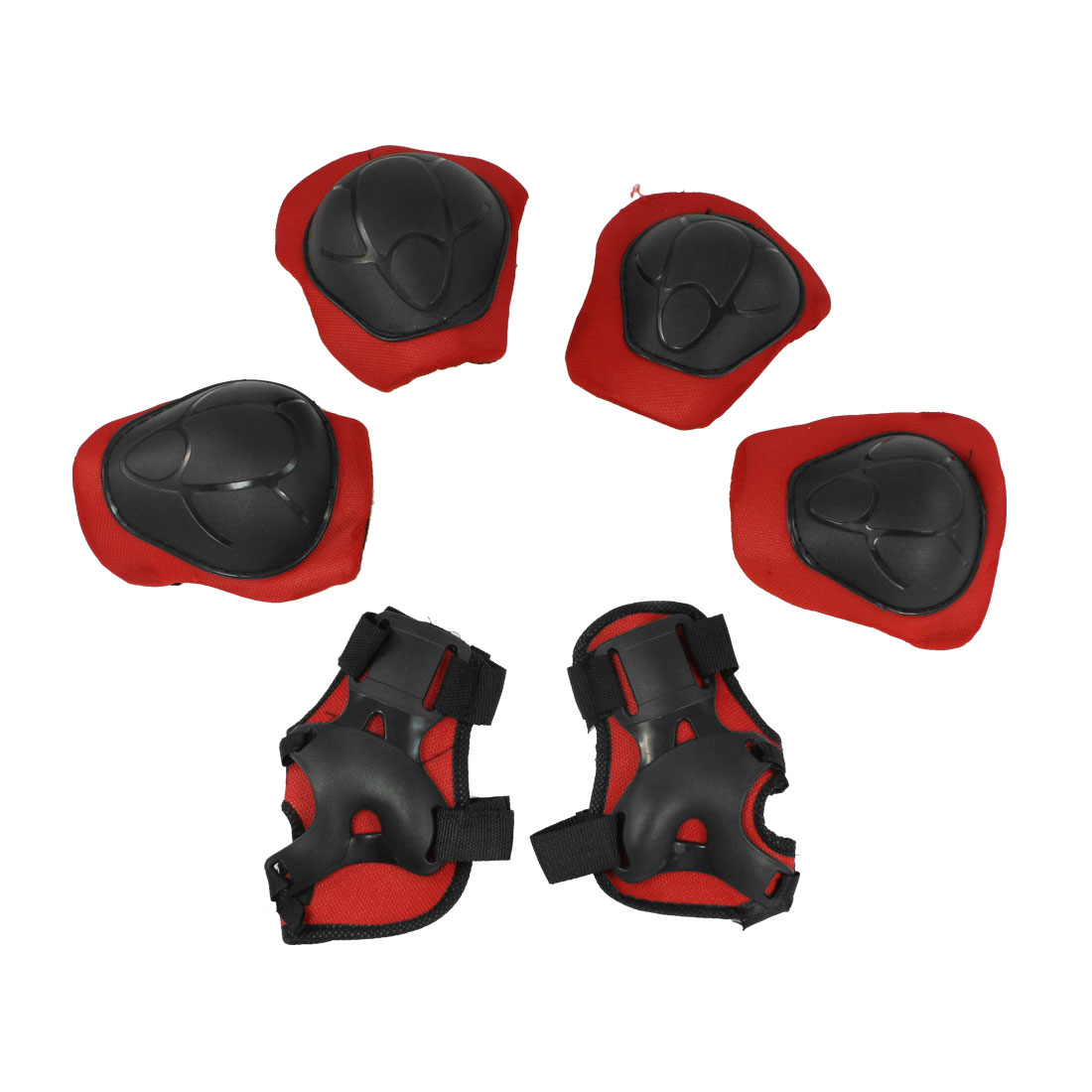 3 Pairs Kids Roller Skating Palm Elbow Knee Support Protector Red Black