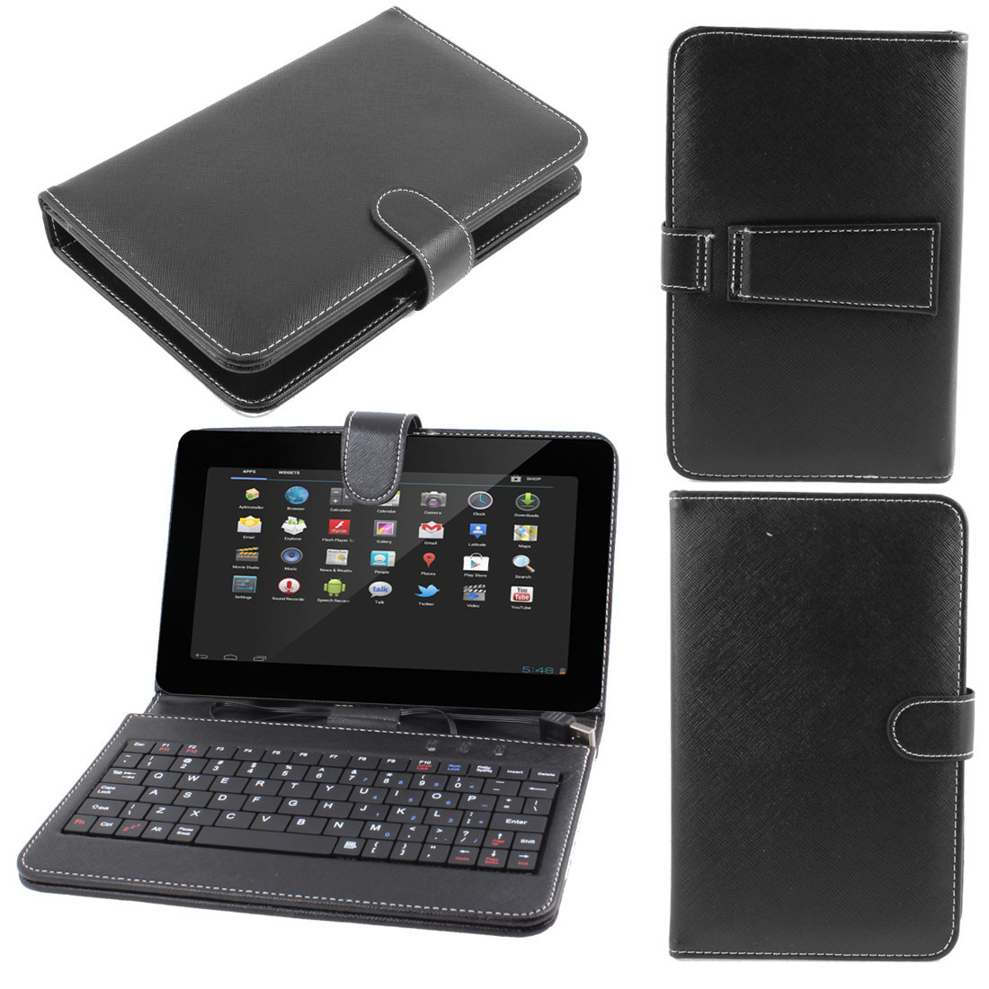 """Faux Leather Stand Case Skin Cover w USB Keyboard for Cobalt 7"""" Android Tablet"""