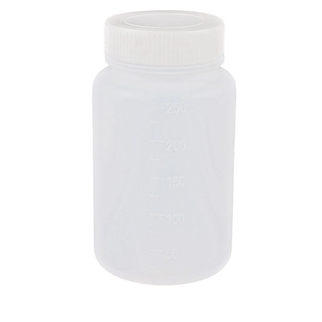 250mL Capacity Laboratory Storage Plastic Widemouth Bottle White