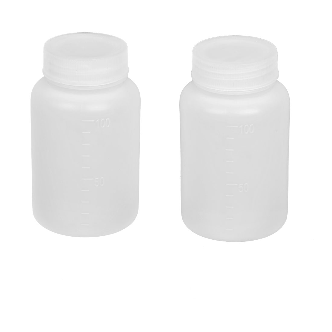 2 Pcs Laboratory Double Cap Leakproof Plastic Widemouth Bottle White 100mL
