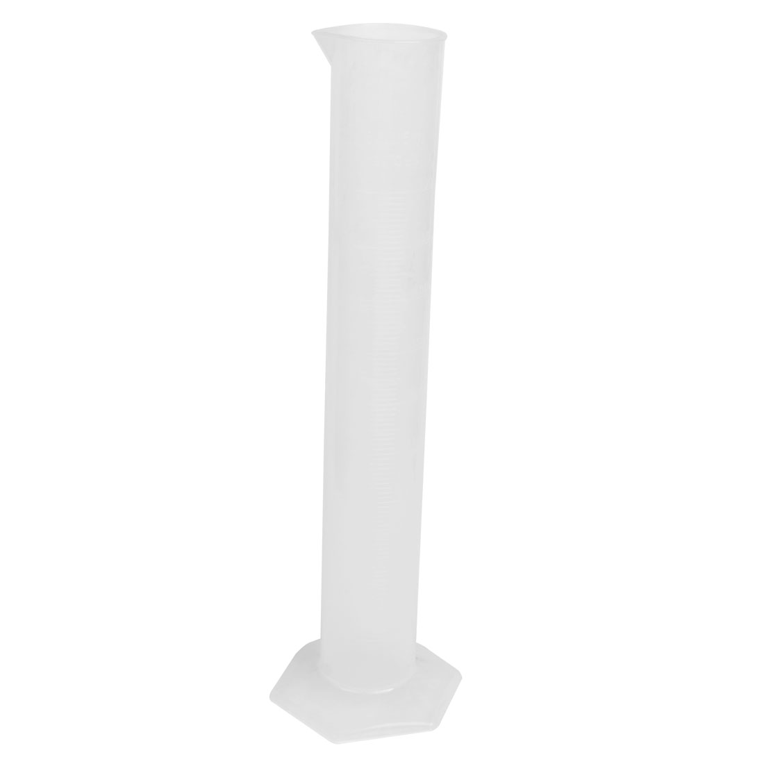 Lab Measurements Clear White Plastic Hex Base Graduated Cylinder 500mL