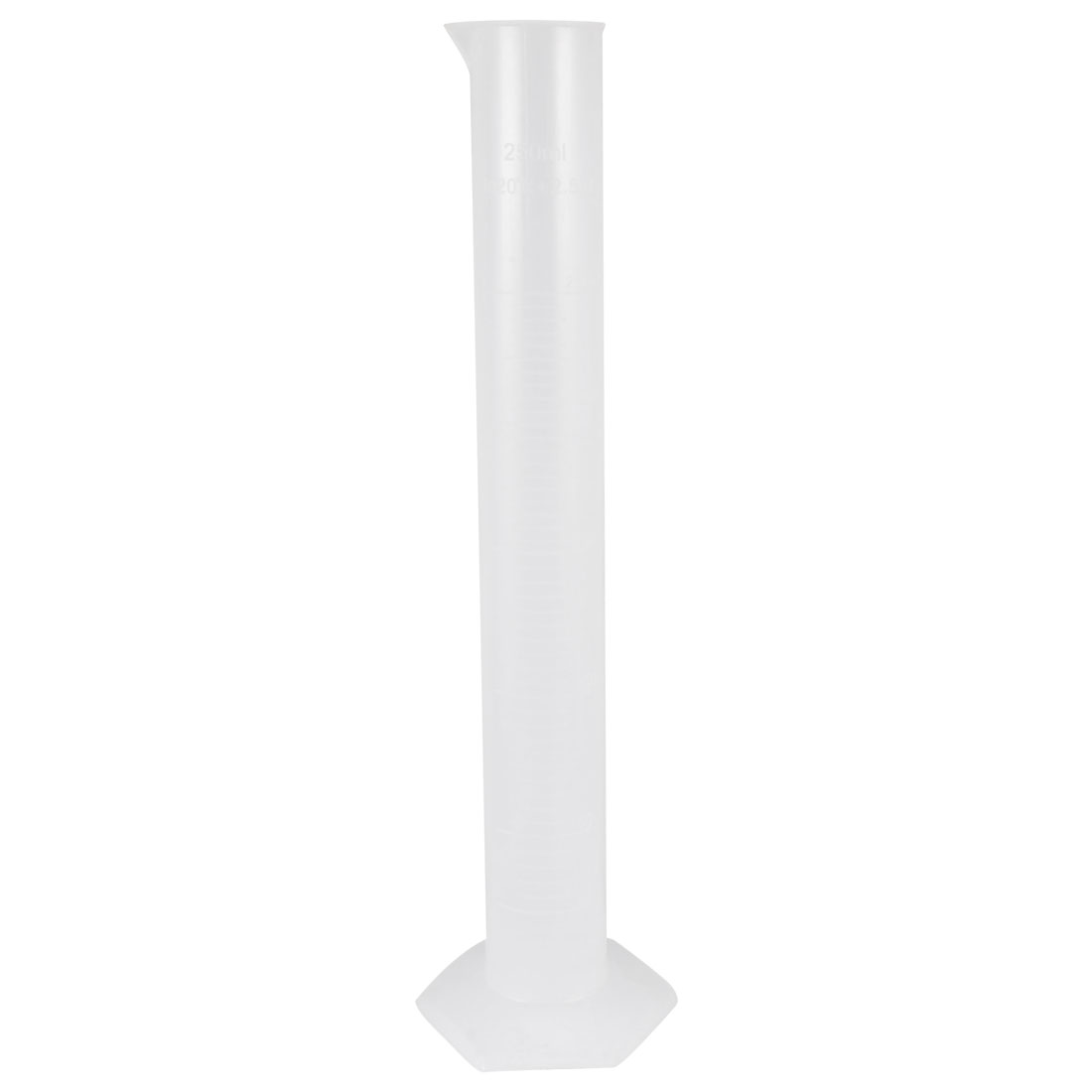 30cm High 250mL Capacity Liquid Measuring Tool Clear White Graduated Cylinder
