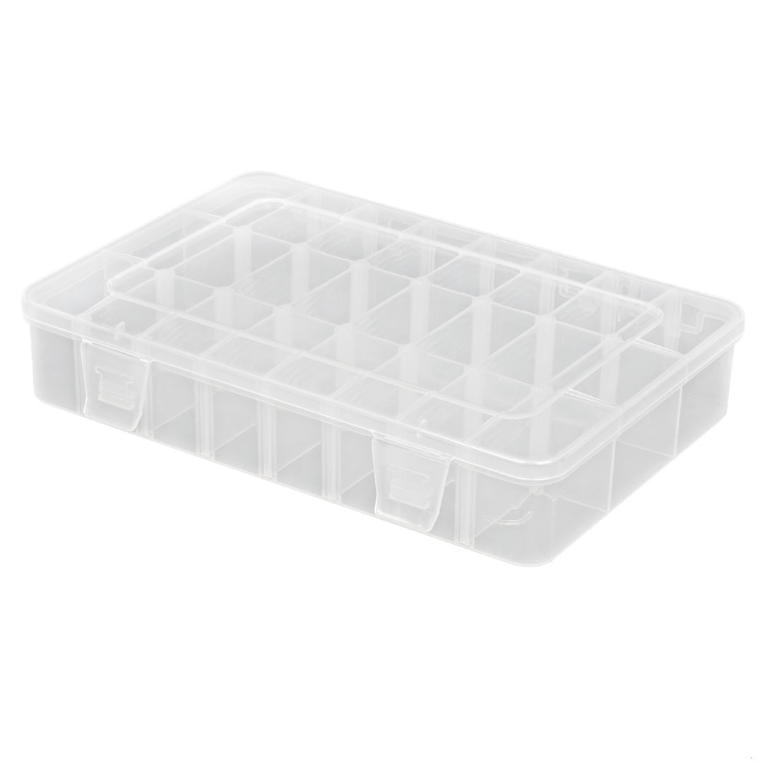 "Plastic 24 Sections Cuboid Jewelry Case Box Holder Container 7.9"" x 5.3"" x 1.4"""