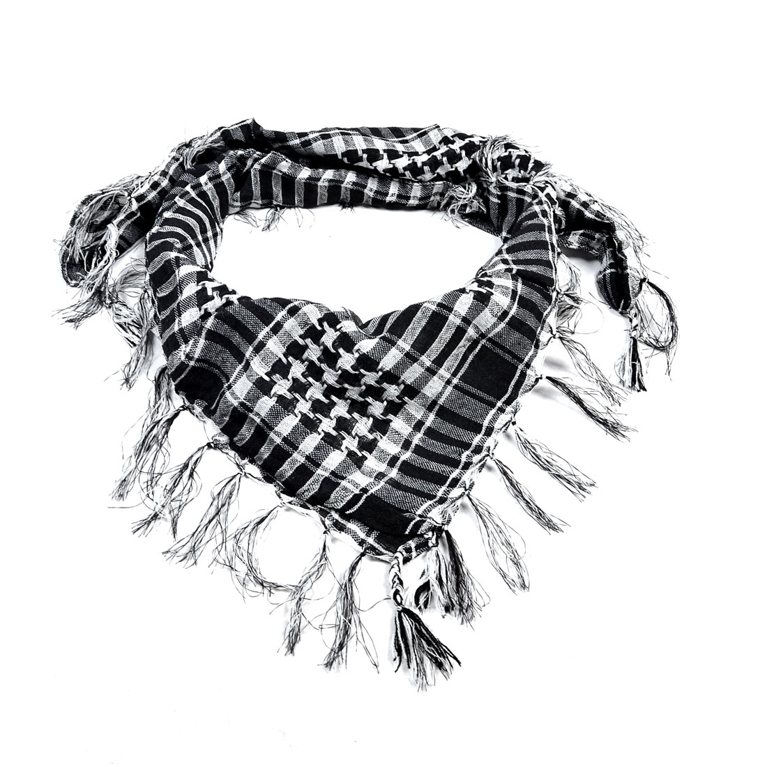 Ladies Black White Houndstooth Tassels Square Scarf Wrap Neck Ornament