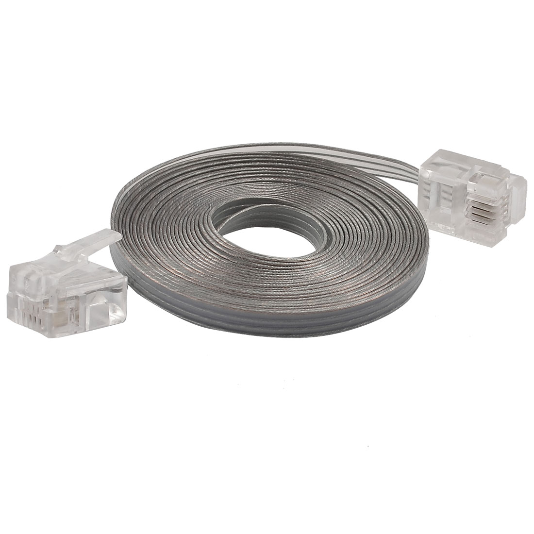 2.4M Long Clear Plastic RJ11 4P4C Telephone Handset Flat Cable