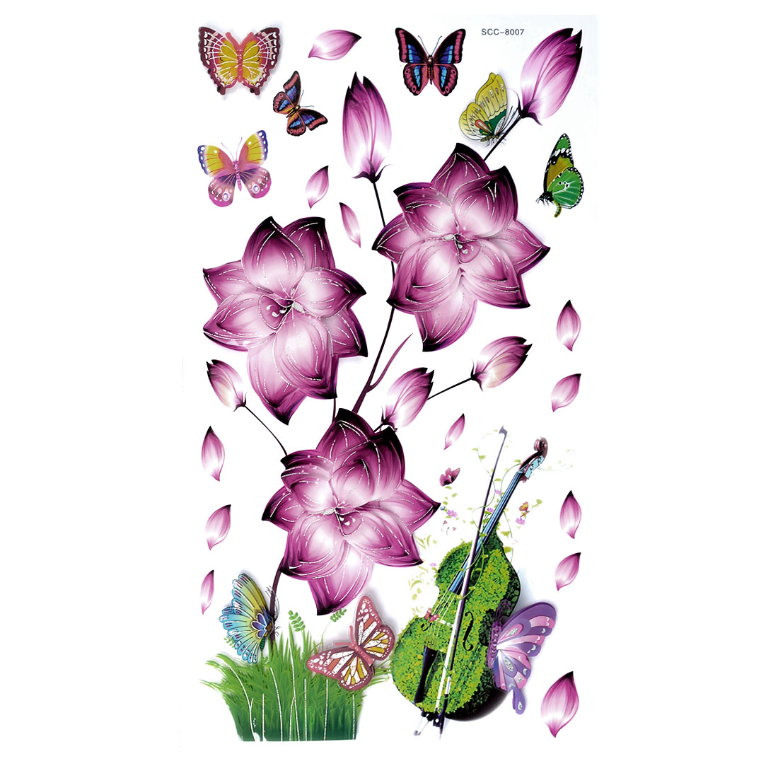 Home Decor 3D DIY Lotus Butterflies Guitar Pattern Wall Sticker