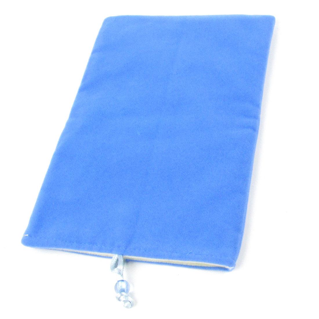 Bead Closure Velvet Phone Pouch Bag Case Blue for Cell Phone