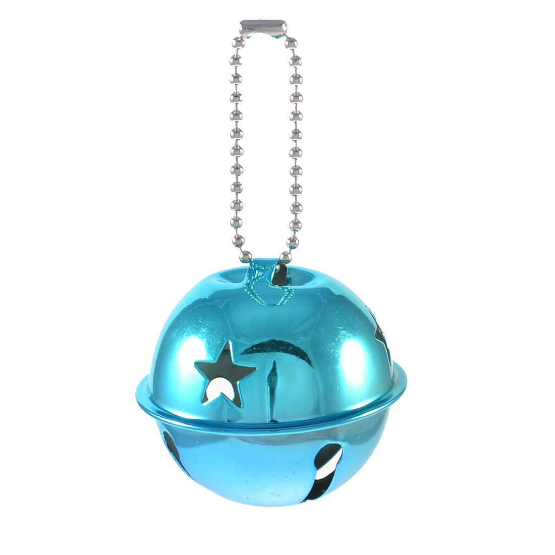 Star Pattern 50mm Dia Ring Bell Ornament Cyan for Christmas Tree