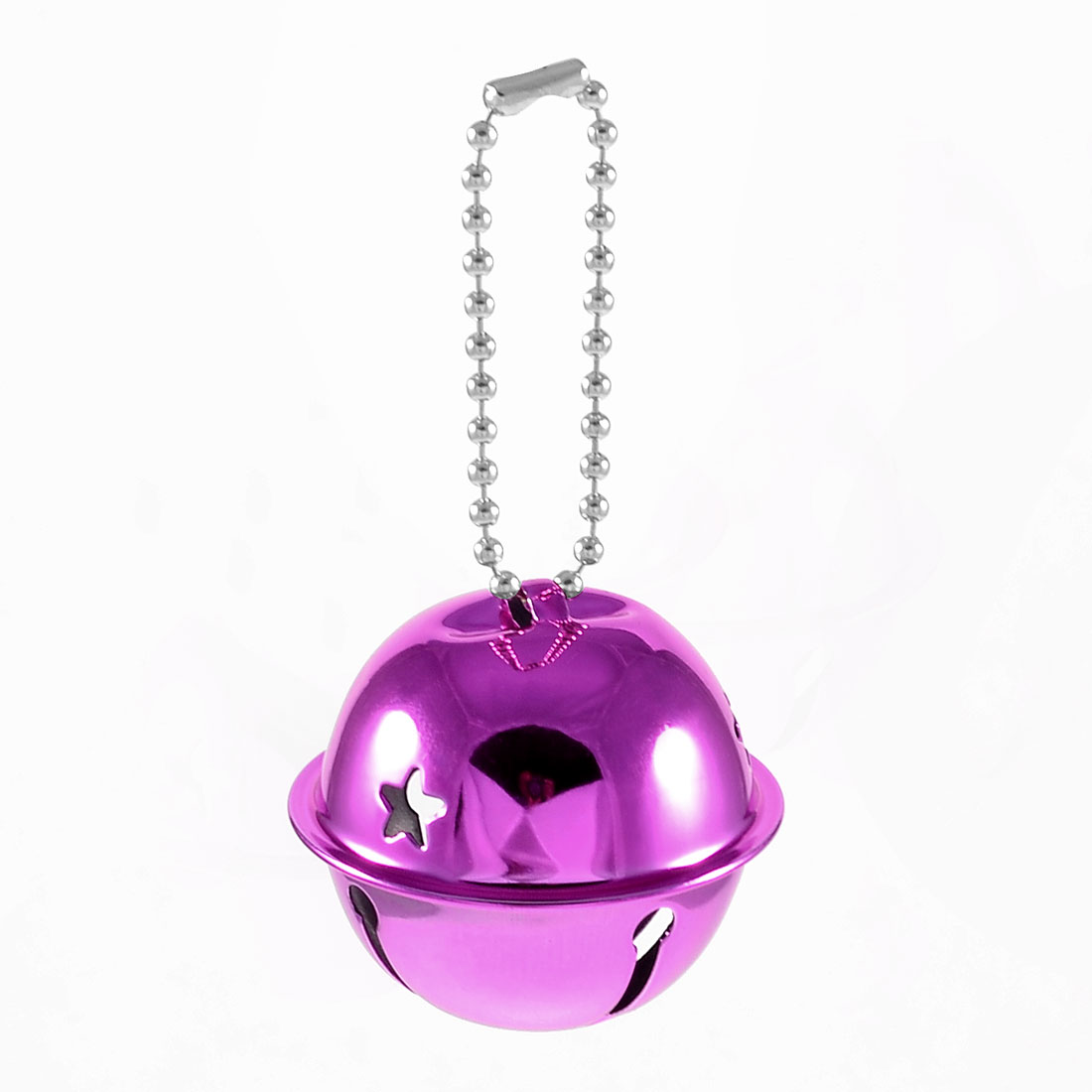 Star Pattern 40mm Dia Ring Bell Ornament Fuchsia for Christmas Tree
