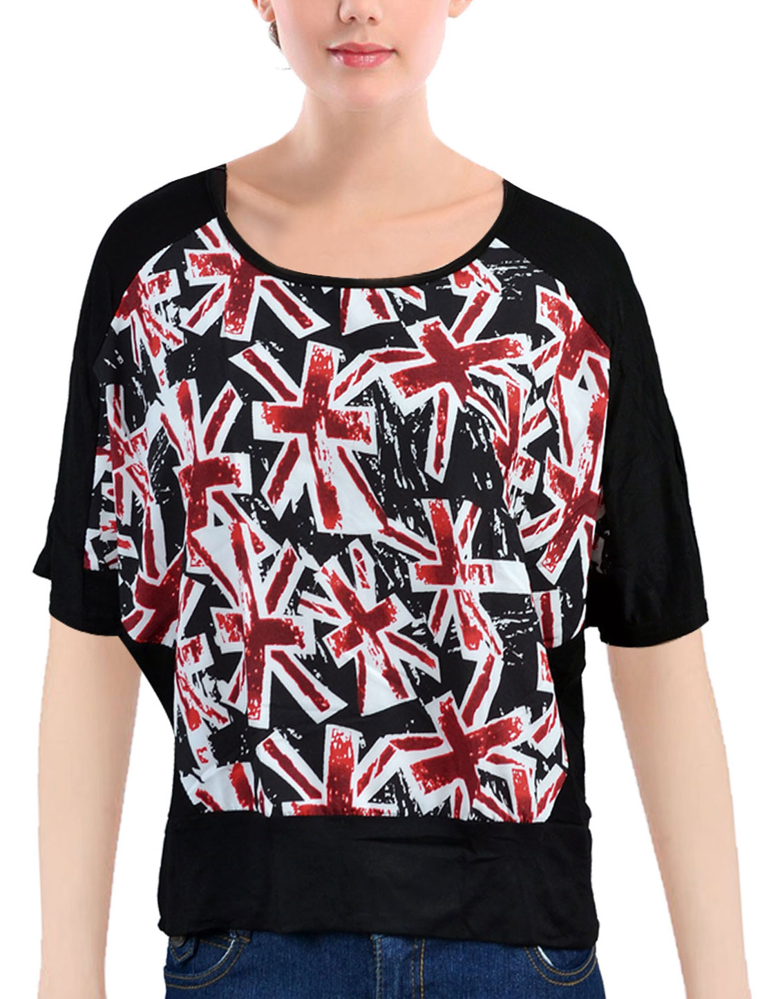 Lady Black Burgundy White Union Jack Pattern Pullover Blouse Batwing Shirt XL